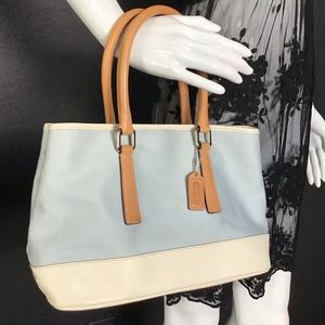 Coach Hampton's Shopper Textile Leather Tote Bag